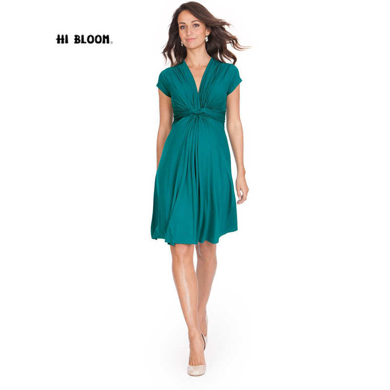 Tencel Summer Fashion Maternity Dresses V-Neck Short Pregnancy Dress Elegant Maternity Clothes For Pregnant Women Knee-Length