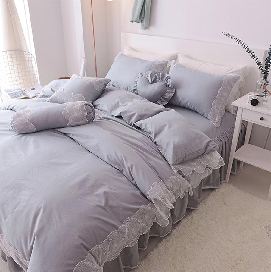 pink grey khaki blue single double cotton bedding set