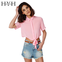 HYH HAOYIHUI Solid Pink Women Blouse Sheer One Button Turn-Down Collar Crop Tops Bow Front Short Sleeve Chiffon Blouse