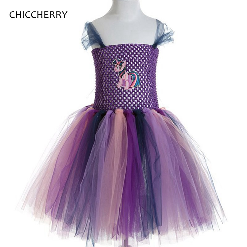 Purple Children Girl Birthday Outfits Pony Baby Lace Tutu Dress Robe Princesse Fille Elegant Kids Party Dresses Baby Clothing