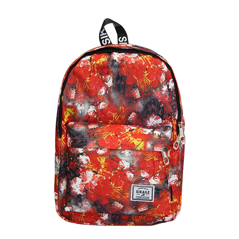 Casual Printing Backpack Women Floral Bookbags Adjusted Strap Large Capacity Canvas Schoolbag For Teen Girls Travel Rucksack
