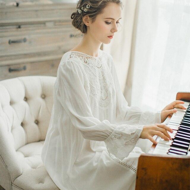 6143cec87e3 Осенняя хлопковая ночная рубашка принцессы для женщин с длинными рукавами  ретро романтический рубашки французский суд дворец