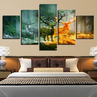 Home Artworks Canvas Paintings 5 Panel Wood Fire Deer Nature View Pictures HD Prints Poster Wall