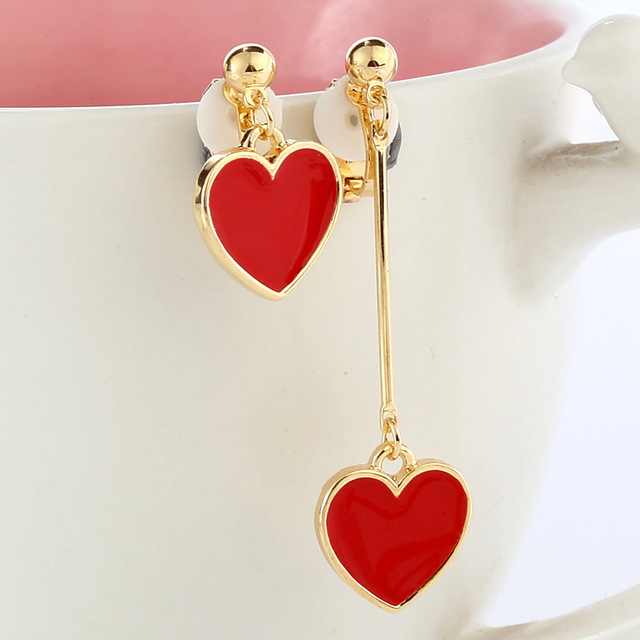 Kovtia Red Heart Pendant Clip Earrings Without Piercing Ear Puncture For Women Wedding