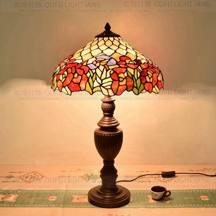 16 дюймов плоти страна цветы Тиффани настольные лампы страна Стиль пятнистости Стекло лампы для Спальня ночники E27 110- 240 В