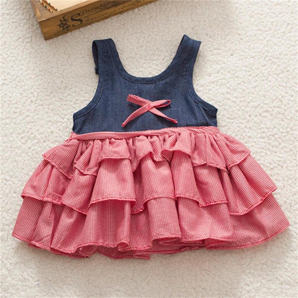 ccf5948fa1b9 2017 New fashion girls summer bow layered dress
