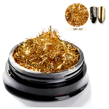 Nail Art Glitter Gold Silver Silk Stripes Lines Sequins Magic Effect Chrome Powder Mirror Aluminum Foil Flakes Decoration