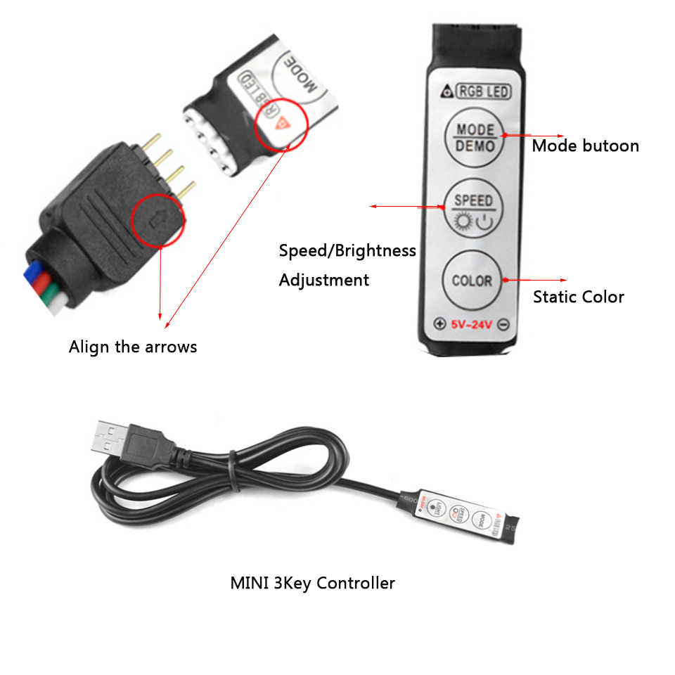 Tira conduzida 5 v/12/24 v rgb usb ir rf controle remoto 3/17/24 chave remoto sem fio led controlador para 5050/3528 led tira de luz
