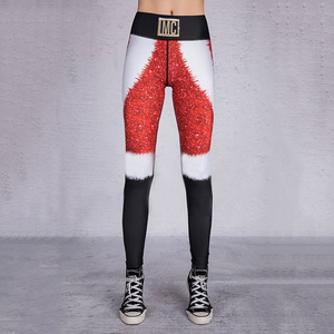Image 5 - 2019 Hayoha Christmas Printing Leggings Put Hip Elastic High Waist Legging Breathable Merry Christmas Pants