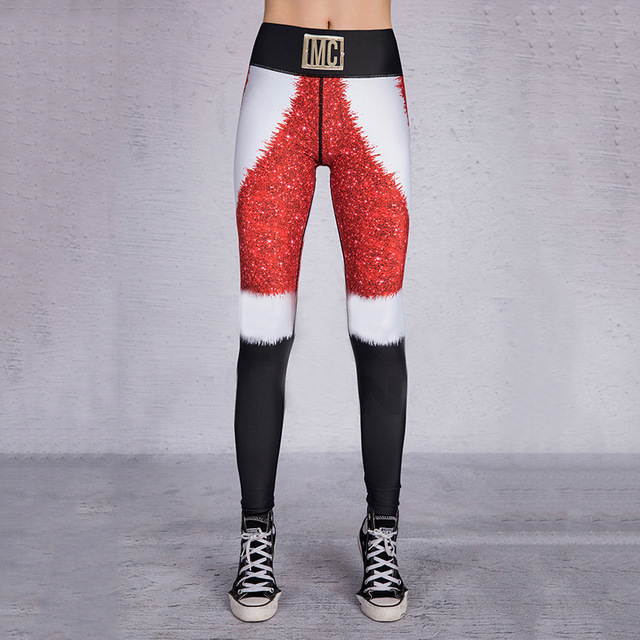 2019 Hayoha Christmas Printing Leggings Put Hip Elastic High Waist Legging Breathable Merry Christmas Pants 5