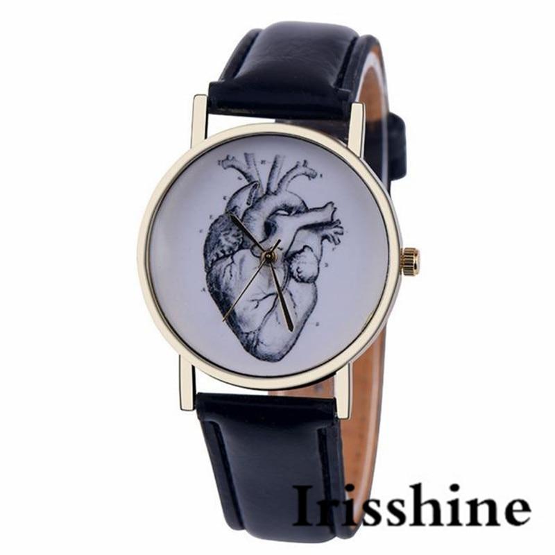 Irisshine i0688 lady Ms girl Leather Band Analog Quartz Vogue Wrist Watch women watches gift