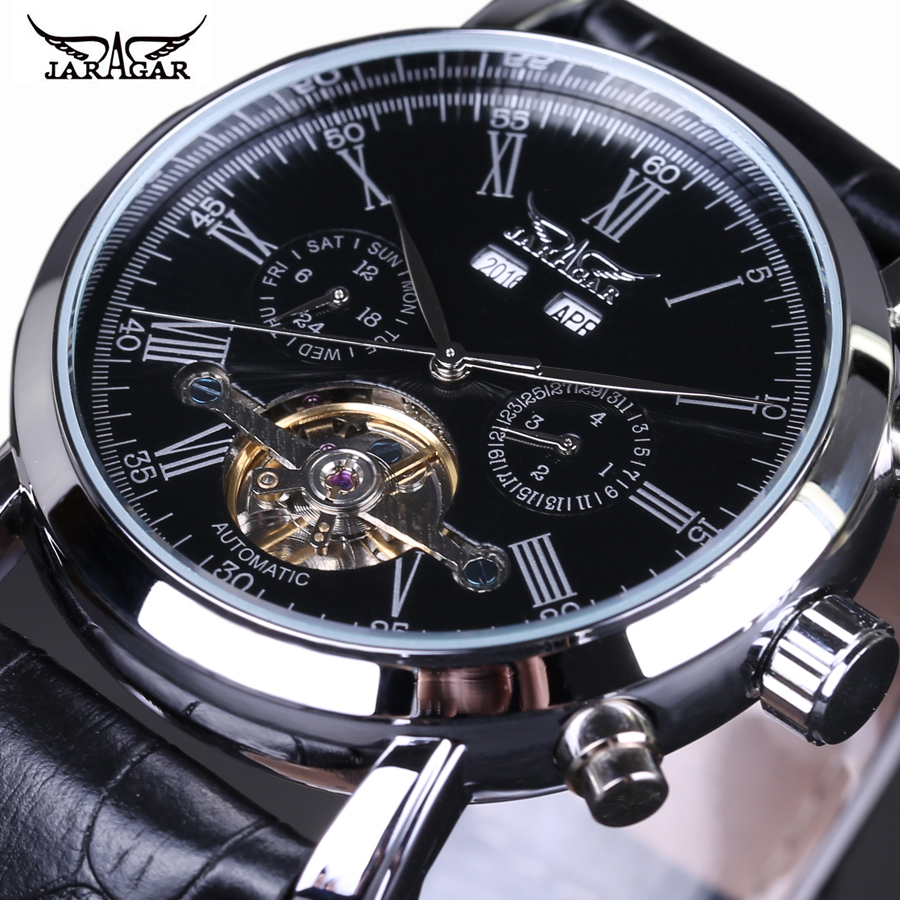 Montre Homme Luxury Brand Jaragar Watch Men Tourbillon Automatic Mechanical Watches Multifunction Men Watch Leather Strap fosining luxury montre homme watch men s auto mechanical moonpahse genuine leather strap watches wristwatch free ship