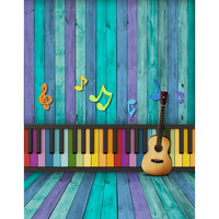 Customize Vinyl Cloth Photography Backdrop 5X7ft Computer Printing Wooden Plank Wall Piano Keyboard Background For Photo