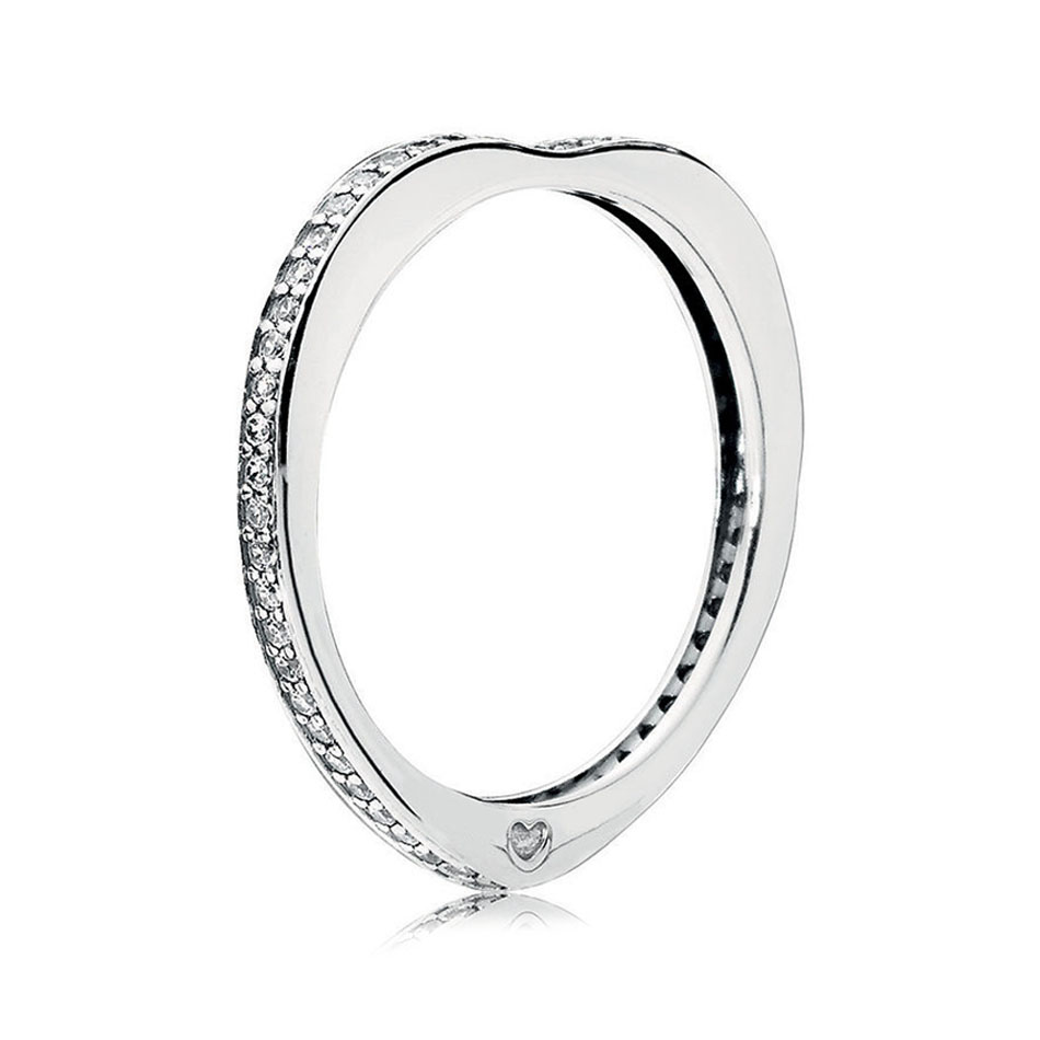 30% Silver Women Ring Sparkling Arcs of Love Ring Clear CZ Finger Ring with Pave Crystal fit Lady Jewelry