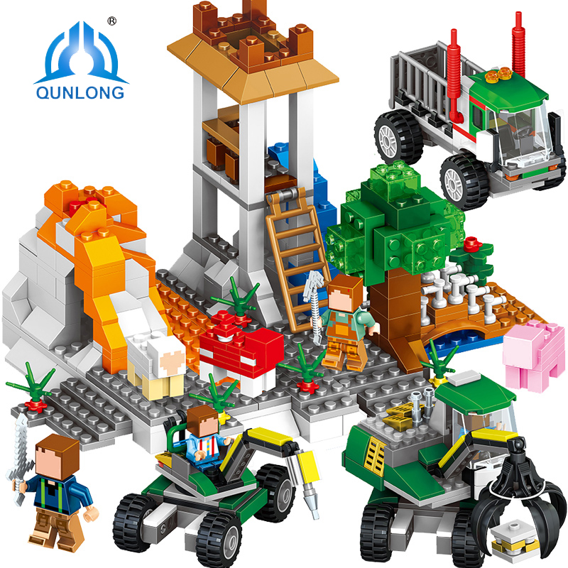 Qunlong Toys Mine World 649pcs Minecrafted Figures Building Blocks Compatible Legoe Minecraft City Enlighten Bricks For Children qunlong 0521 my world volcano mine building blocks toy compatible legoe minecraft building block city educational boys toy gift