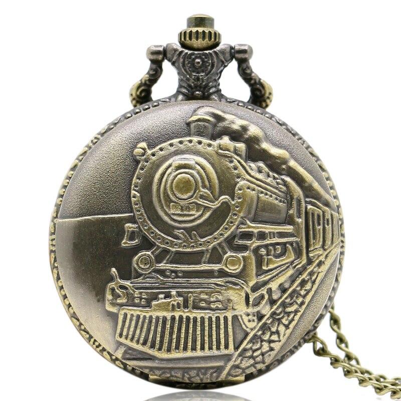 Retro Bronze Train Front Locomotive Engine Necklace Pendant Quartz Pocket Watch For Women Mens Gift