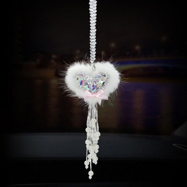 Crystal Heart Hanging Ornament Rhinestone Car Interior Decoration Accessory Crystal Charm Heart Car Pendant For Women Girls