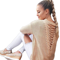 Sexy Backless Knitting Pullover Fashion Bandage Autumn Winter Sweater Women Tops Casual Hollow Out Jumper Pull