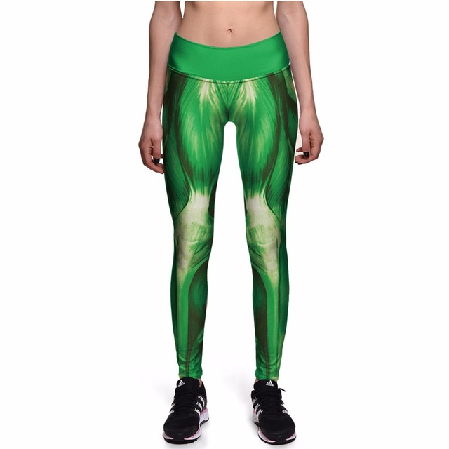 NEW 0088 Sexy Girl Hulk Strong Green Muscle Prints Slim High Waist Workout Fitness Women Leggings Pants Trousers Plus Size