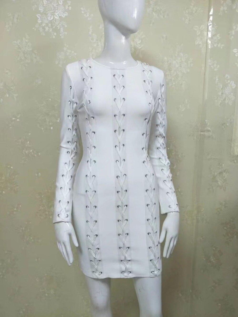2019 nouvelle automne robe à manches longues Rivet blanc o-cou moulante femmes parti Bandage robe Vestidos