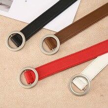 Womens Sweet Buckle Double Gold Jeans Joker Belt Fashion Dress Simple New Round Pin