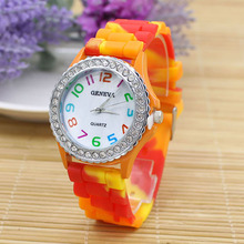 New Hot 2015 New Ladies Geneva Rhinestone Inlaid Case Rainbow Colorful Band Watches for Fashion Design