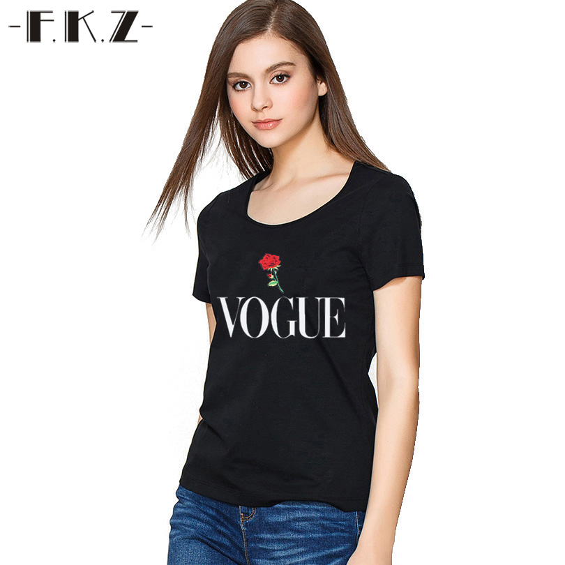 fkz hot sale plus size tshirt women vogue letters printed. Black Bedroom Furniture Sets. Home Design Ideas