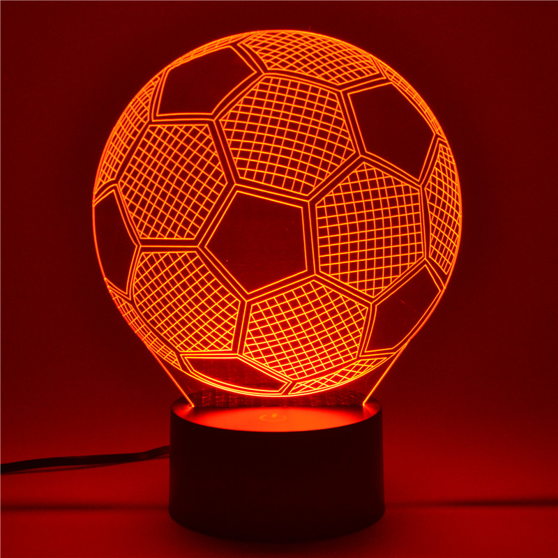 AUCD 3D Table Lamp Football Childrens Kid Christmas Gift Table USB Novelty 7 Colors Change LED Night Light Lamp -FS20