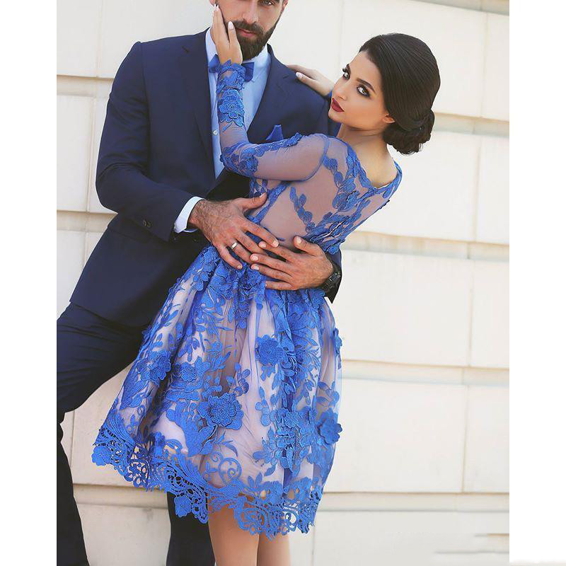Tulle Élégantes Picture Soirée Longues Modeste Bijou Bleu Pparty De Court Color Cou Arabe Manches Robe Royal Pageant Robes Dentelle 78vvqT1P