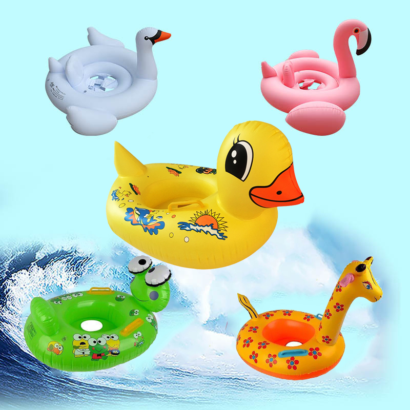Kids swim ring 1pcs inflatable flamingo Child life buoy Child mount toy Cartoon Tiger Baby seat Armpit circle Outdoor beach pool