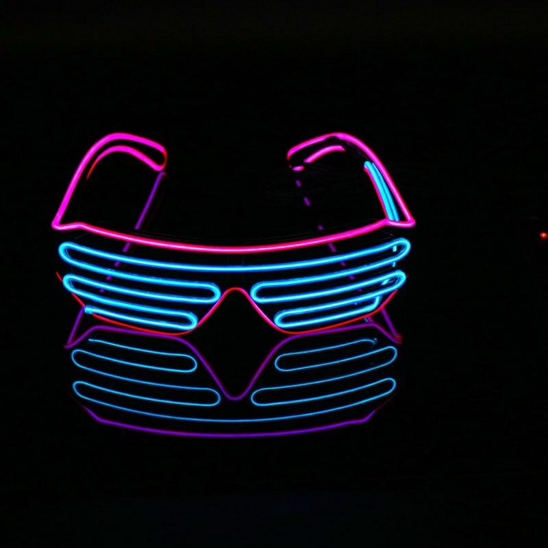 Неоновые вечерние EL очки EL Wire неоновые Светодиодные Солнцезащитные очки светящиеся очки Rave костюм вечеринка DJ Солнцезащитные Очки День Рождения Декор - Цвет: blue VS pink