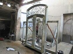 Hench 100% stalowe metalowe żelazne drewno i kute drzwi wejściowe