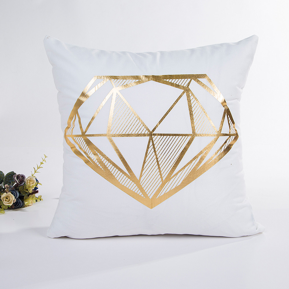 Bronzing Diamond Leaves Printing Throw Pillow Case Polyester 45*45cm Cushion Cover Decorative Pillowcase Sofa Bed Home Decor