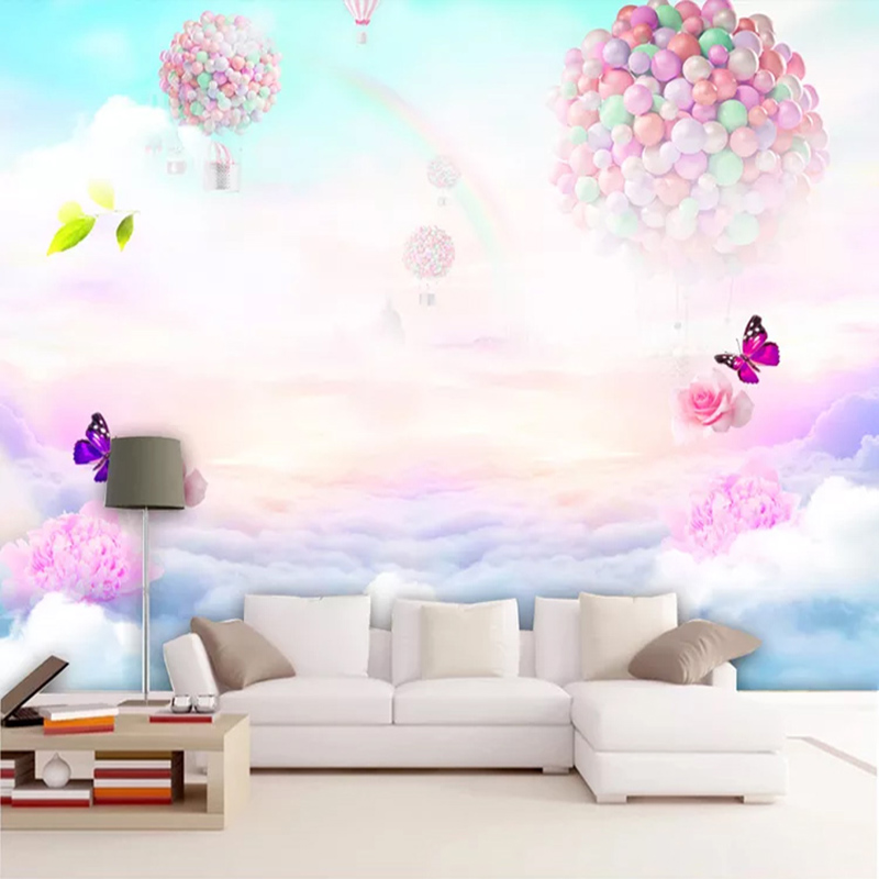 Custom Mural Wallpaper For Kids Room Flower Butterfly Balloon Rainbow Sky Children Bedroom Wall Decoration 3D Photo Wallpaper