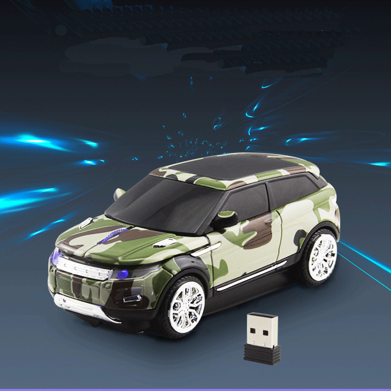 CHUYI Wireless Mouse Cool Camouflage Mini SUV Car Mouse 1600 DPI USB Optical Office Mice Computer Gaming Mause For Boy Gift PC