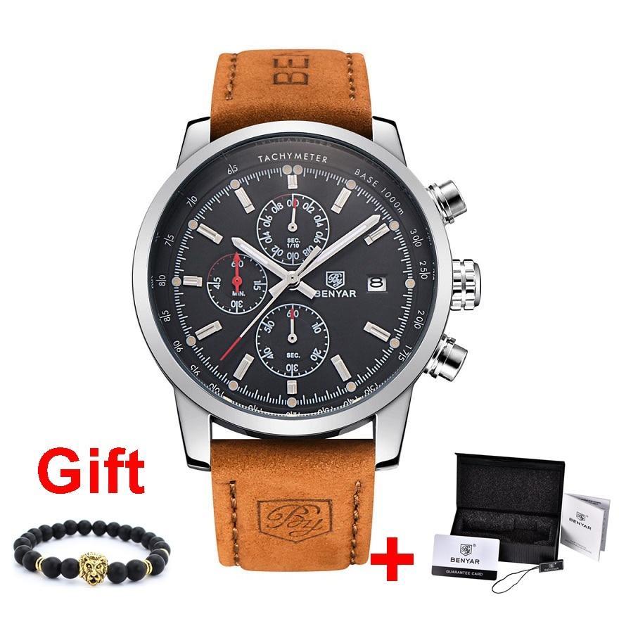 Benyar Männer Uhr Top Marke Luxus Männlichen Leder Quarz Chronograph Militär Wasserdichte Armbanduhr Männer Sport Uhr uhren hombre