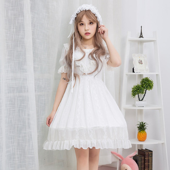Free Time-limited Shipping 2019 New Brocade Garden Summer Short Sleeve Chiffon Dress Embroidered Roses White Skirt Jian Jia