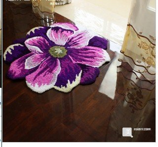 Rug/Anti-slip Acrylic Handmade Area/ Rose shape/28*28inch(70*70cm) /free shipping/retail/wholesale