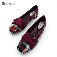 England Style Gingham Women Casual Loafers Spring Autumn Square Toe Bowtie Slip On Flats For Woman