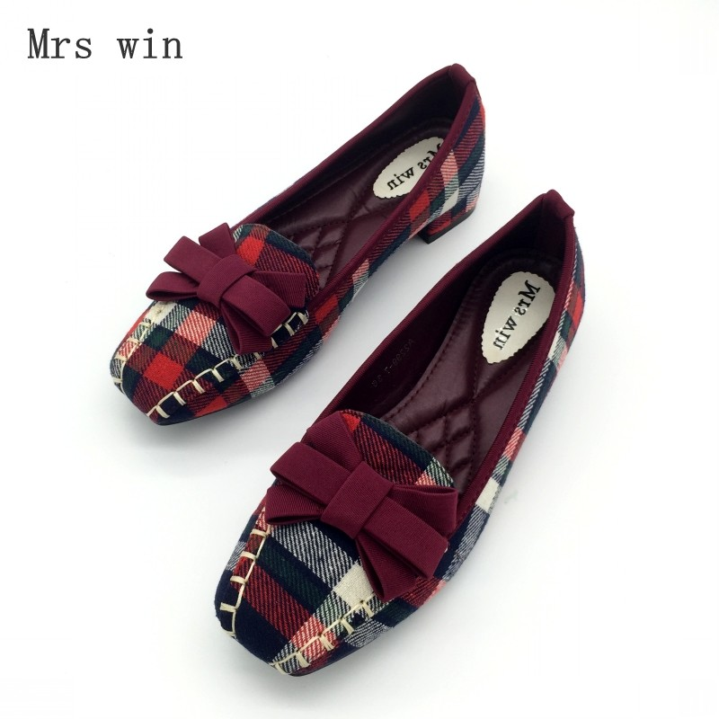 England Style Gingham Women Casual Loafers Spring Autumn Square Toe Bowtie Slip On Flats For Woman Ladies Single Shoes Plus Size coolcept female bowtie restore ancient ways slip on platform mid heels women s fashion style casual spring autumn lolita shoes