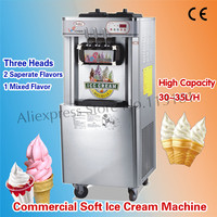 Vertical Ice Cream Machine Soft Ice Cream Maker 220V Commercial Use 3 Heads Production Output 32~35L/H