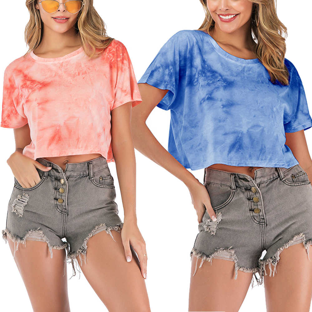 Fashion gradient print short sleeve sexy woman T-shirt summer short loose versatile crop high street top