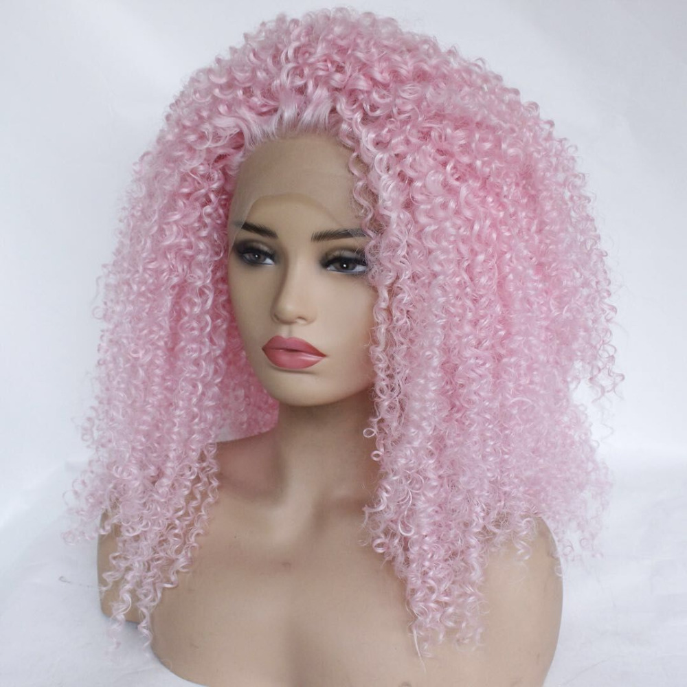 Persevering Marquesha Kinky Curly Pink Synthetic Lace Front Wig Heat Resistant Fiber Replacement Tight Curly Lace Front Wigs For Women Hair Extensions & Wigs Lace Wigs