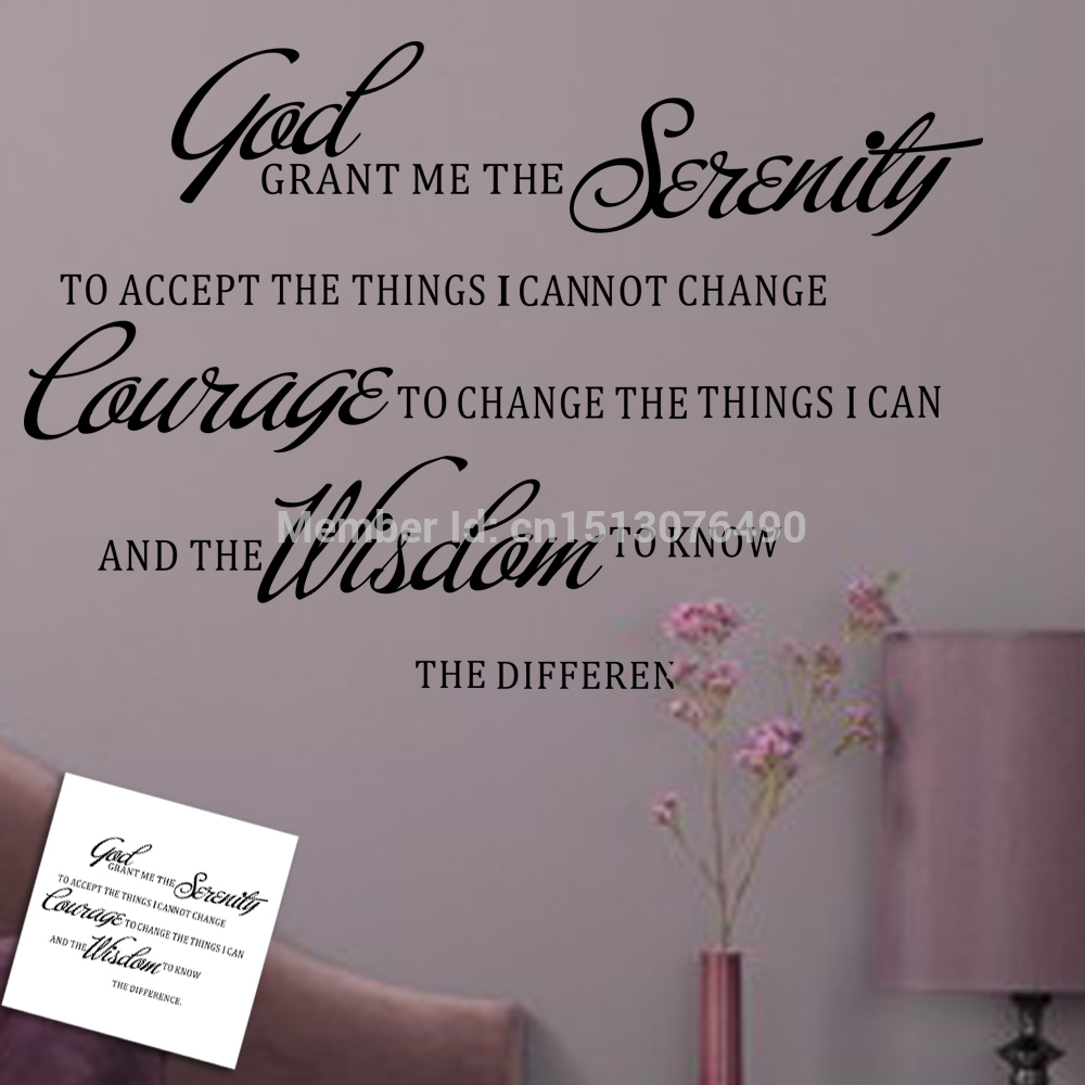Grant Me Serenity Prayer Art Quote Wall Sticker Decal Decor Home Room Mural Decoration In Stickers From Garden On Aliexpress