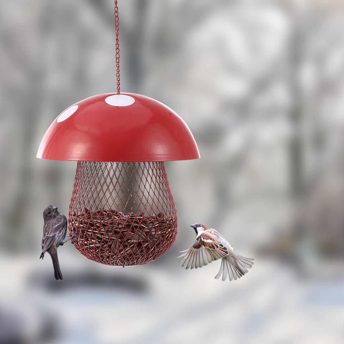 Mushroom-shaped Bird Feeder Wild Bird Seed Feeder Outdoor Decorative Garden Metal Hanging Food Mesh House Кормушка