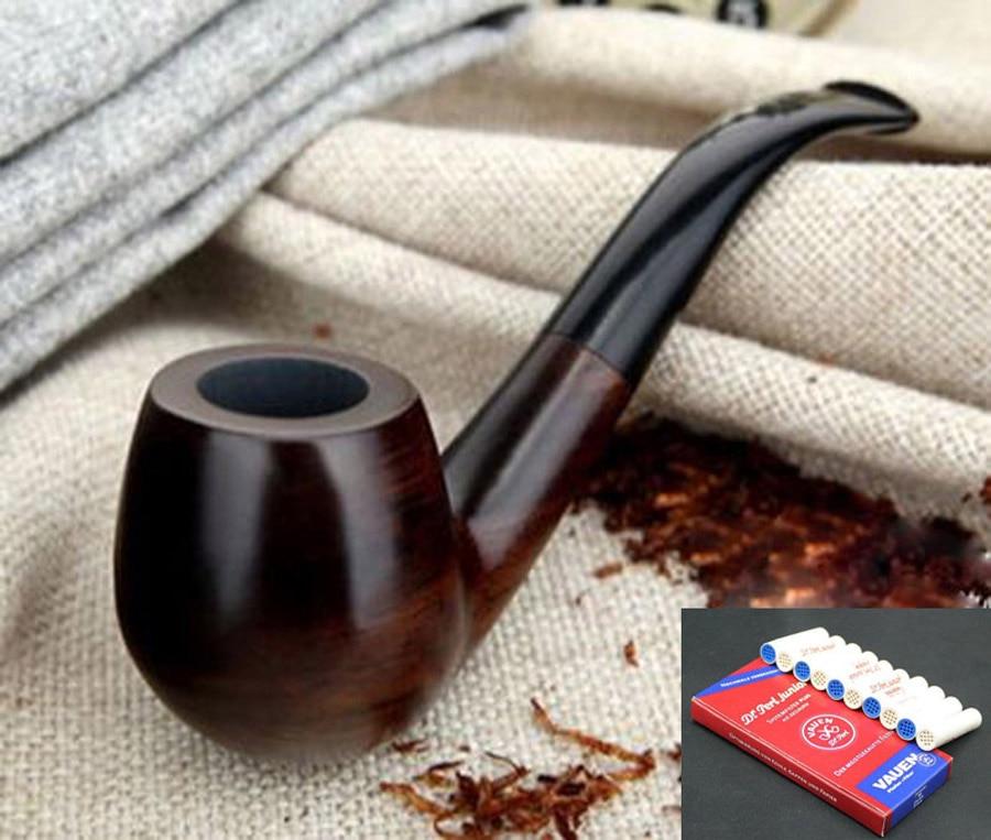 Clásico hecho a mano Natural pipa de madera para fumar conjunto fumar tabaco ébano tubo de fumar de madera 10 Uds 9mm filtros + bolsa + soporte F508 Pipa de madera para tabaco hecha a mano, pipa para fumar cigarros, Triple barril de madera, soporte para cigarrillos, cigarros Pipa para