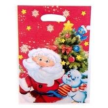 10 шт рождественские подарочные пакеты, пластиковые мешочки для покупок, Подарочная посылка, рождественские принадлежности 17*25 см