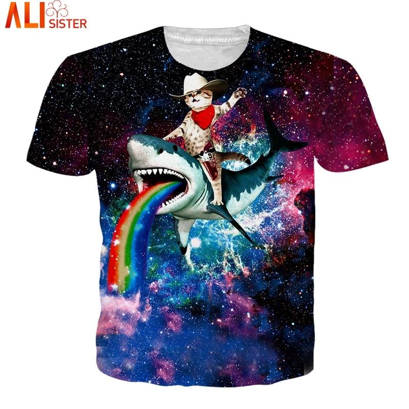 Alisister Galaxy Chat 3d T Shirt EUR Taille Animal Drôle T-Shirts 2018 Été Hip Hop Camisa Masculina Femmes Tee Tops unisexe