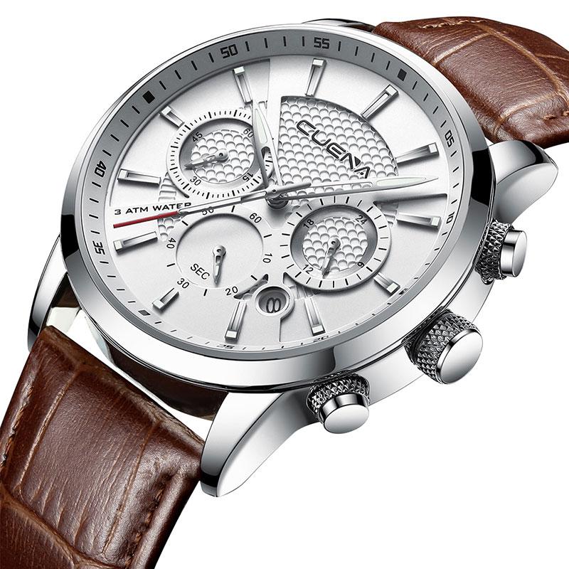 CUENA Luxury Men Watches Leather Strap Stopwatch Luminous Hands Calendar 30M Waterproof Men's Wristwatch Quartz Male Watch Brown