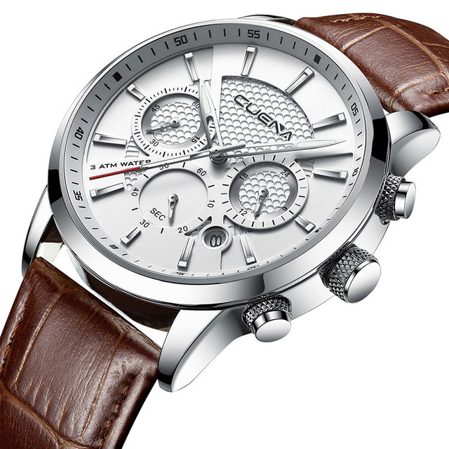 CUENA Luxury Men Watches Leather Strap Stopwatch Luminous Hands Calendar 30M Waterproof Mens Wristwatch Quartz Male Watch Brown